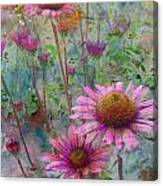 Garden Pink And Abstract Painting Canvas Print
