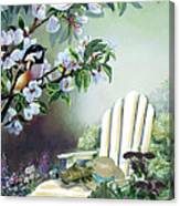 Chickadees In Blossom Tree Canvas Print