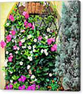 Garden Screen With Flowers Canvas Print