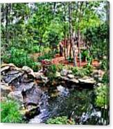 Garden Waterfall And Pond Canvas Print