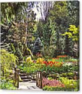 Garden With A Bridge Canvas Print