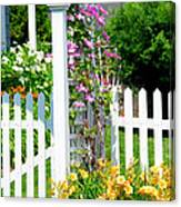 Garden With Picket Fence Canvas Print