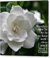 Gardenia Bloom And Scripture Canvas Print