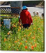 Gardening Distractions In Park Sierra-california Canvas Print