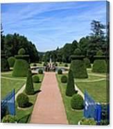 Gardenpath With Blue Gates - Burgundy Canvas Print
