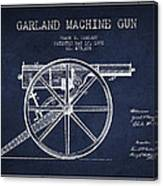 Garland Machine Gun Patent Drawing From 1892 - Navy Blue Canvas Print
