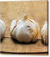 Garlic On Old Barrel Board Canvas Print