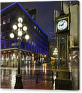 Gastown Steam Clock On A Rainy Night Canvas Print