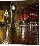Gastown Steam Clock On A Rainy Night Vertical Canvas Print