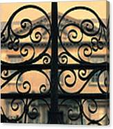 Gate In Front Of Mansion Canvas Print