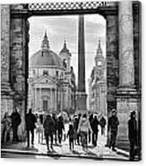 Gate To Piazza Del Popolo In Rome Canvas Print