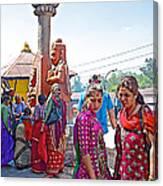 Gathering At Hindu Festival Of Ram Nawami In Kathmandu-nepal Canvas Print