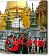 Gathering Near Pagodas Of Grand Palace Of Thailand In Bangkok Canvas Print
