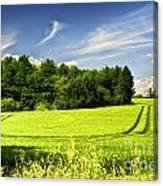 Gathering The Crop To Thaxted Mill Essex Uk Canvas Print