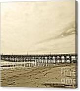 Gaviota Pier In Morning Sepia Tone Canvas Print