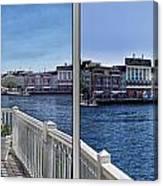 Gazebo 02 Disney World Boardwalk Boat Passing By 2 Panel Canvas Print