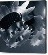 Gears And Cogs Mirrored In Titanium Canvas Print