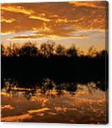 Geese Fly In The Sunset Canvas Print