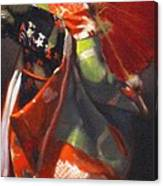 Geisha Girl With Red Umbrella Canvas Print