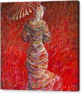 Geisha In Red Canvas Print
