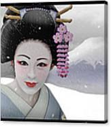 Geisha In Snow On Mt. Fuji Canvas Print