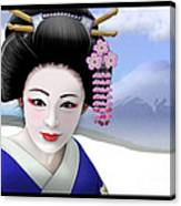 Geisha On Mount Fuji Canvas Print
