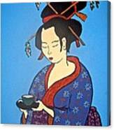 Geisha With Cup Canvas Print