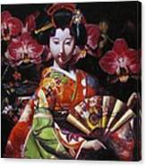 Geisha With Orchids Canvas Print