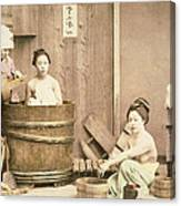 Geishas Bathing Canvas Print