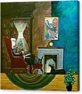 Gentleman Sitting In Wingback Chair Enjoying A Brandy Canvas Print