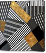 Geo Stripes In Gold And Black II Canvas Print