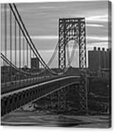 George Washington Bridge Frame Work Bw Canvas Print