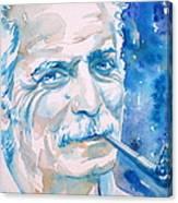 Georges Brassens - Watercolor Portrait Canvas Print