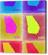 Georgia Pop Art Map 2 Canvas Print