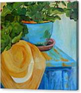 Geraniums And A Hat Canvas Print