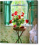 Geraniums In The Bedroom Canvas Print