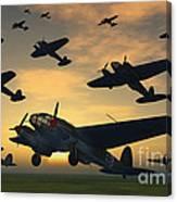 German Heinkel Bombers Taking Canvas Print