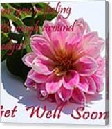 Get Well Soon - Louise Dahlia - Pink Flower Canvas Print