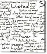 Gettysburg Address-emancipation Proclamation-second Inaugural Address-word Cloud Canvas Print