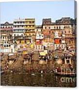 Ghats In The River Ganges At Varanasi In India Canvas Print