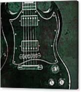 Gibson Sg Standard Green Grunge Canvas Print