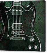 Gibson Sg Standard Green Grunge With Skull Canvas Print