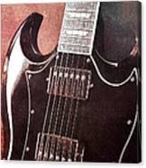 Gibson Sg Standard Red Grunge Canvas Print