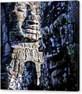 Gigantic Face Statues At Khmer Temple Angkor Wat Ruins Cambodi Canvas Print