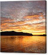 Gilded Fjord While The Sun Set Over Norwegian Mountains Canvas Print