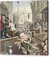 Gin Lane, Illustration From Hogarth Canvas Print