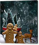 Gingerbread Family In Snow Canvas Print
