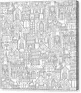 Gingerbread Town Black White Canvas Print