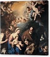 Giordano Luca, Holy Family Venerated Canvas Print