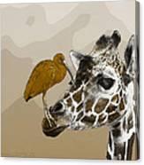 Giraffe And Friend Canvas Print